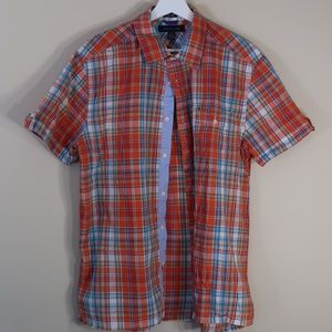 Plaid Orange Short-Sleeve Casual Button-Up Shirt